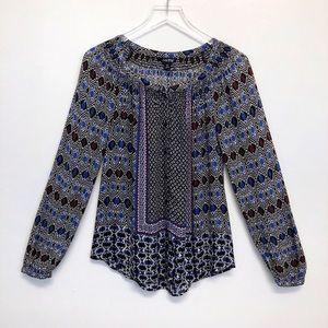 Lucky Brand | Gypsy Ikat Boho Popover Blouse